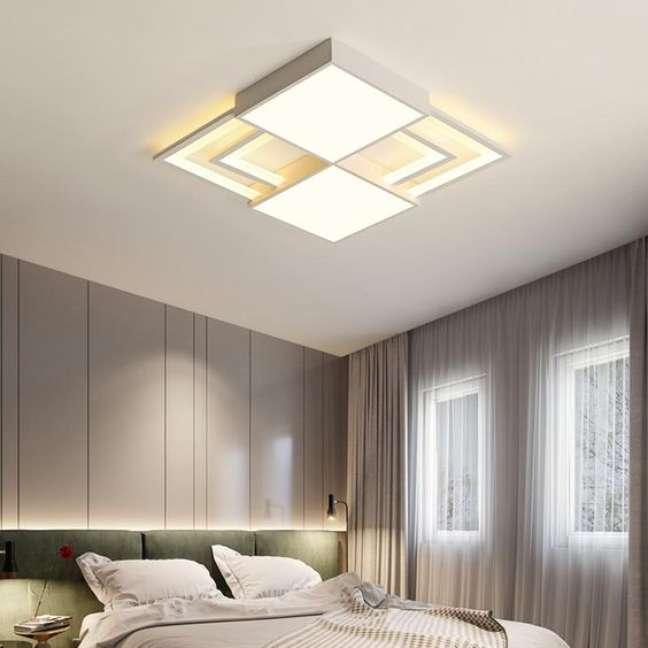 27. Lustre quadrado no quarto moderno – Foto Interior Deluxe
