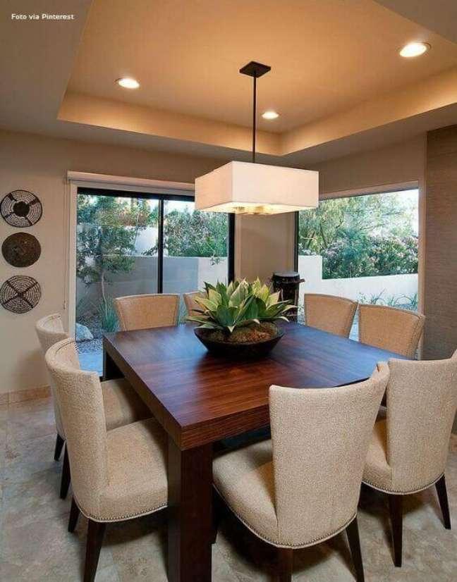 2. Lustre quadrado branco para sala de jantar – Foto Revista VD