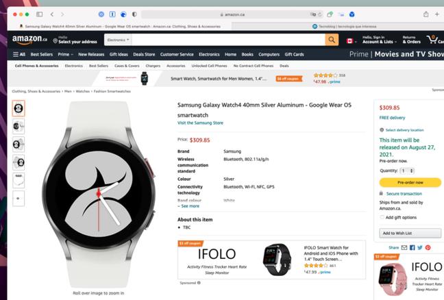 Samsung Galaxy Watch 4 aparece no catálogo da Amazon canadense antes da hora