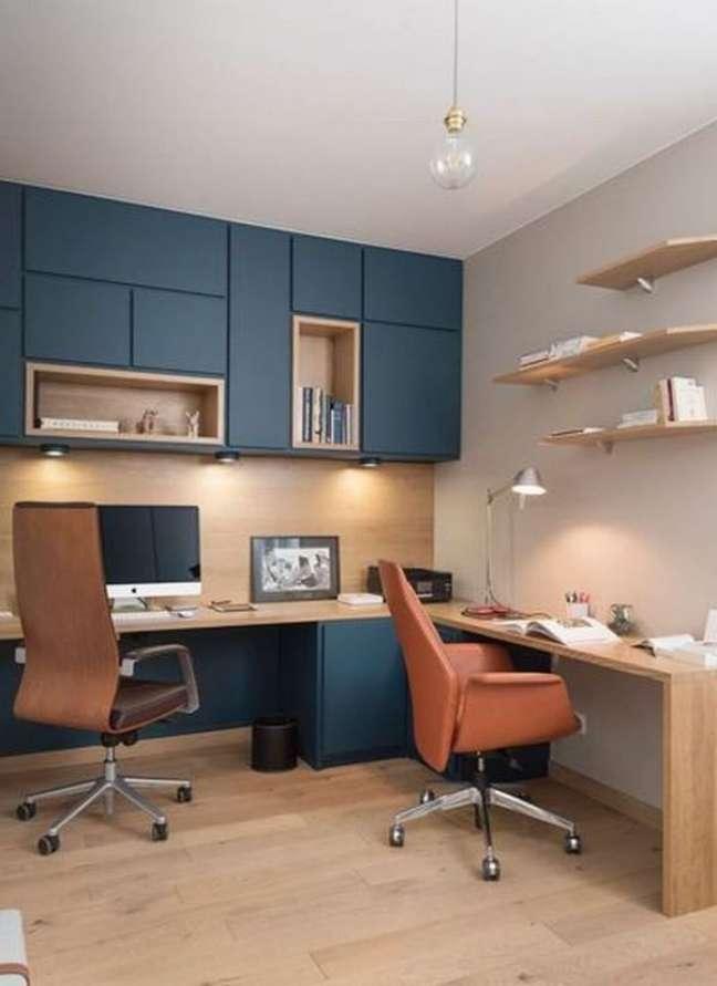 67. Armário de escritório azul planejado – Foto Lanoemarion