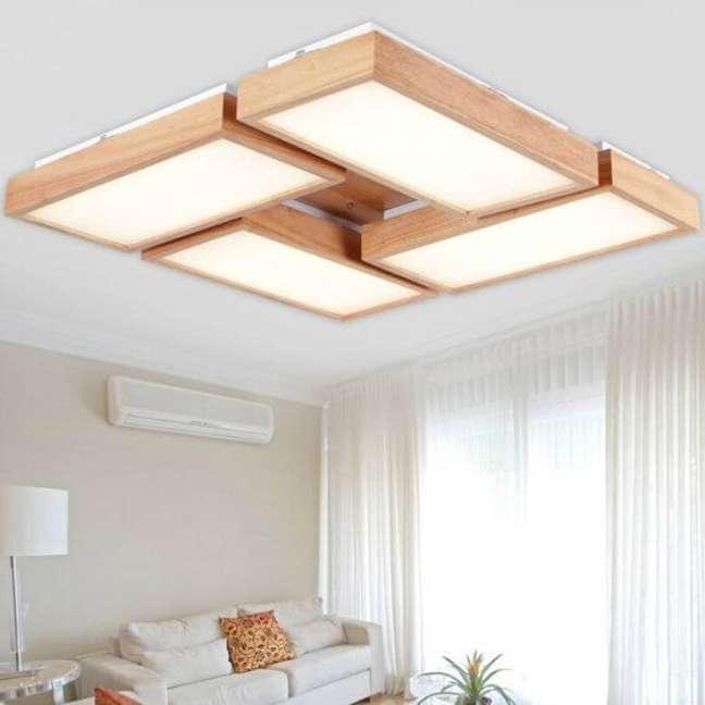 7. Lustre quadrado com madeira ao redor da iluminação – Foto Aliexpress