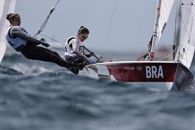 Fernanda Oliveira e Ana Barbacha na disputa de regata nesta quinta-feira Carlos Barria/Reuters