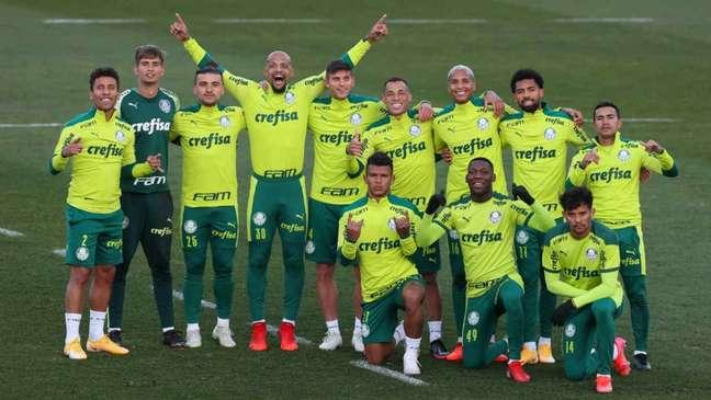 O Palmeiras treinou na Academia de Futebol visando o clássico contra o São Paulo (Foto: Cesar Greco)