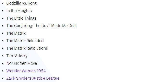 Lista de filmes HBO Max