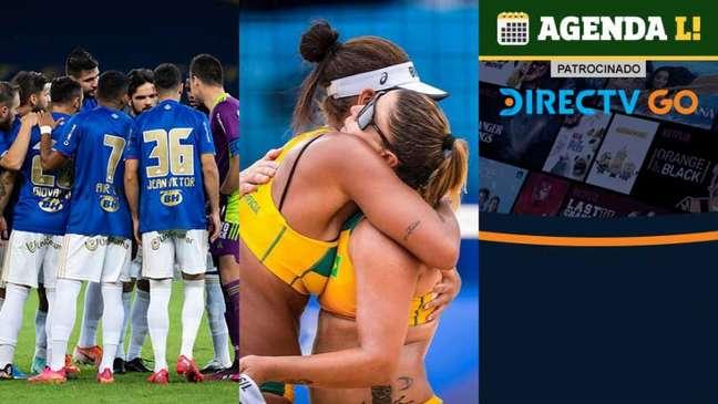 O dia terá futebol brasileiro, vôlei de praia feminino e muito mais! (Foto: montagem LANCE!)