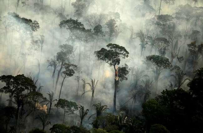 Fumaça de incêndio na Floresta Amazônica perto de Porto Velho  10/9/2019   REUTERS/Bruno Kelly