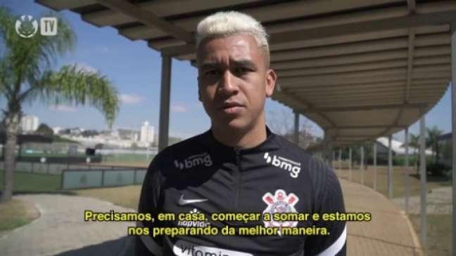 Cantillo falou sobre o jogo (Foto: Reprodução/Corinthians TV)