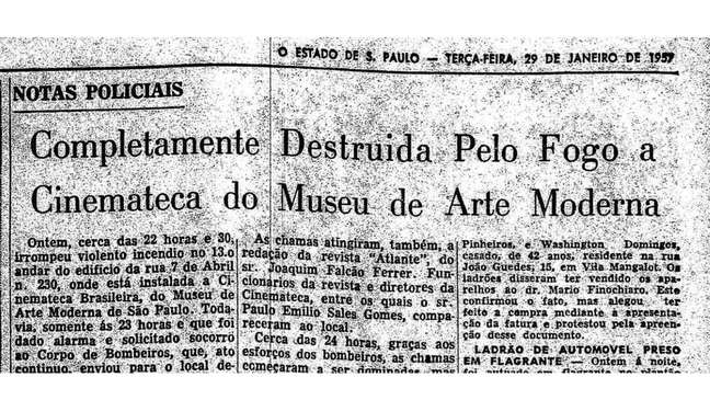Matéria do jornal O Estado de S. Paulo registra incêndio de 1957