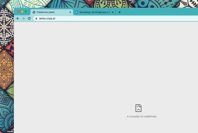 Site da Plataforma Lattes em 27 de julho de 2021