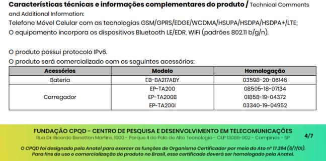 Certificado de conformidade técnica do Galaxy A12s menciona bateria de 5.000 mAh