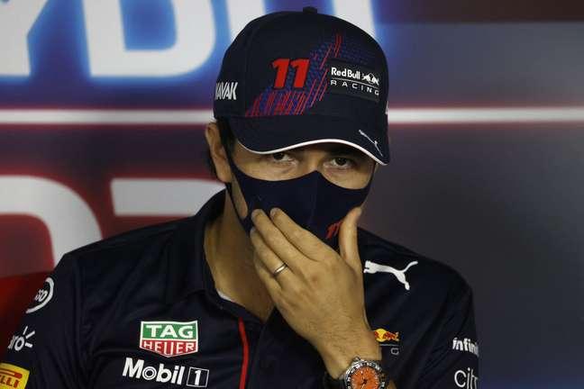 Sergio Pérez durante entrevista coletiva do GP da Hungria de F1