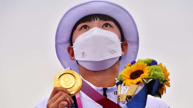 An San, da Coreia do Sul, ficou com a medalha de ouro no tiro com arco feminino Clodagh Kilcoyne Reuters