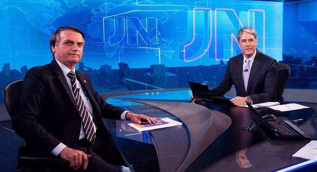 Bolsonaro e Bonner na única vez que ficaram cara a cara, em 28 de agosto de 2018, na série de entrevistas com os candidatos à Presidência no estúdio do 'JN'