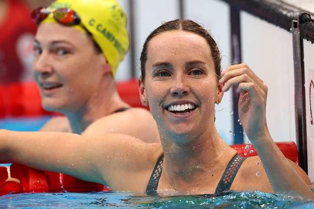 Emma McKeon, da Austrália, festeja recorde olímpico na piscina nesta sexta-feira Stefan Wermuth Reuters