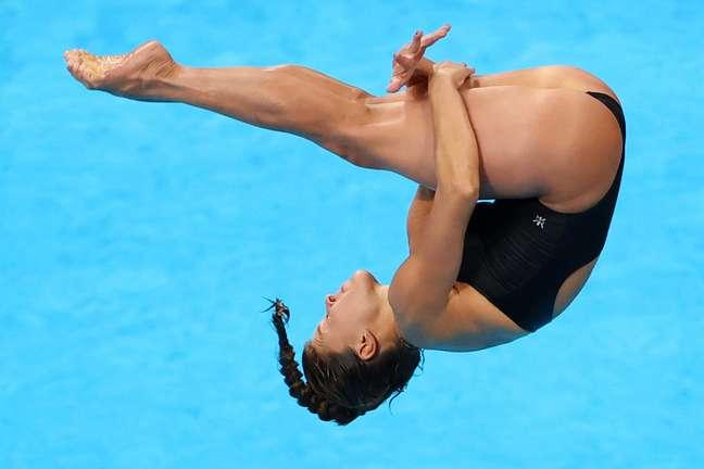 Luana Lira realiza seu salto nesta sexta-feira nos Jogos Olímpicos de Tóquio Marko Djurica/Reuters