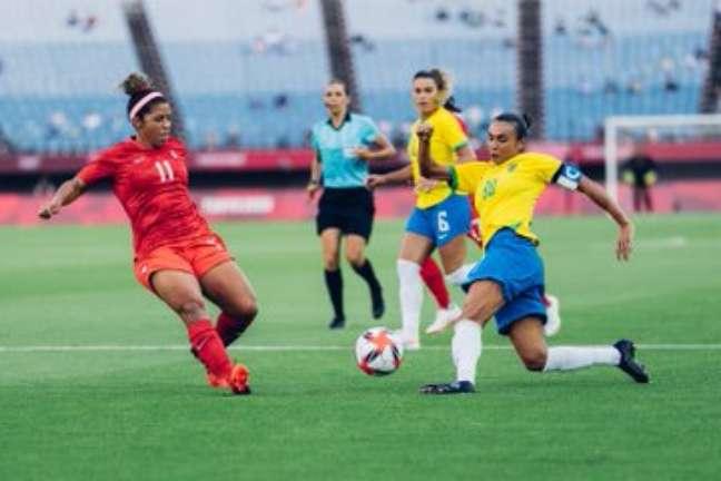 Marta no empate do Brasil contra o Canadá Sam Robles CBF, nesta sexta-feira