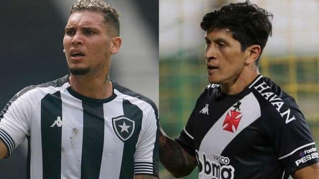 Rafael Navarro, do Botafogo, e Germán Cano, do Vasco (Foto: Montagem LANCE!)