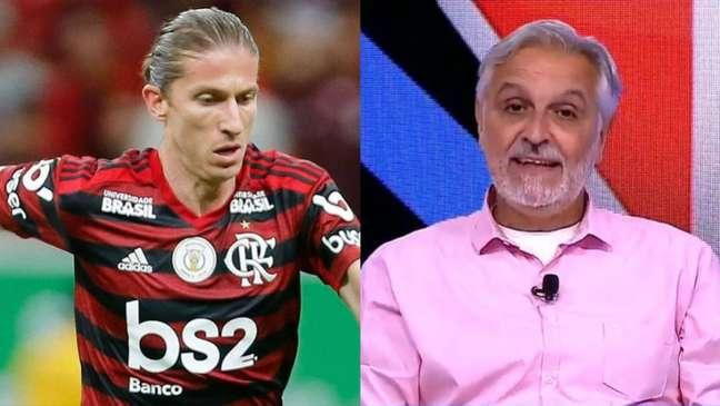 Para Sormani, Felipe Luís não se encaixa no modelo do Flamengo de Renato (Montagem Lance! Fotos: Alexandre Vidal / Flamengo; Reprodução / Fox Sports)