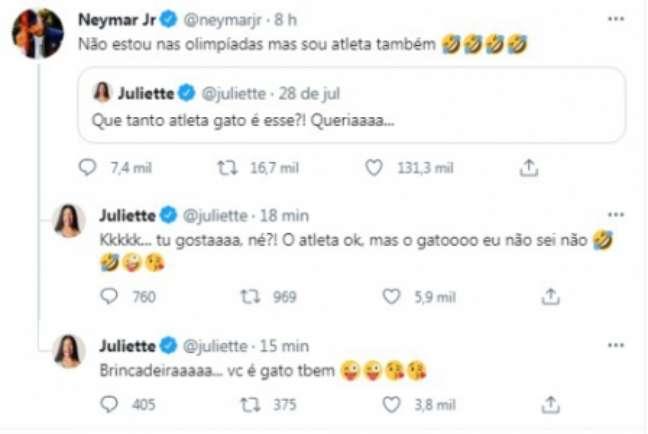 Juliette mordeu e depois assoprou em brincadeira com Neymar (Foto: Reprodução/Twitter)