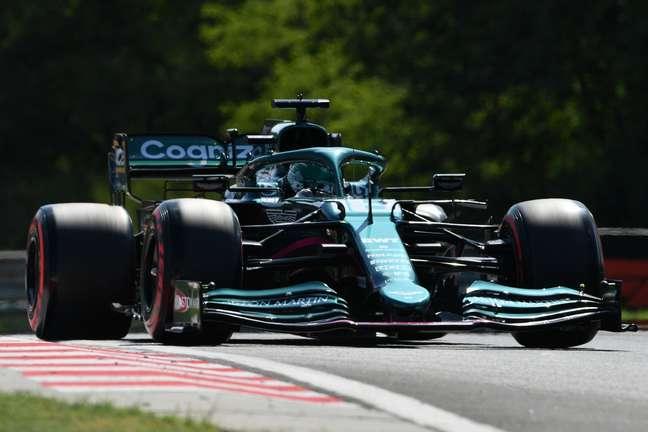 Lance Stroll em ação na classificação para o GP da Hungria