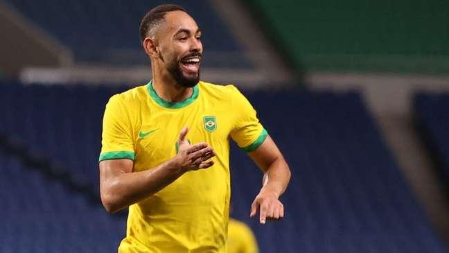 Matheus Cunha comemora gol do Brasil  31/7/2021    REUTERS/Molly Darlington