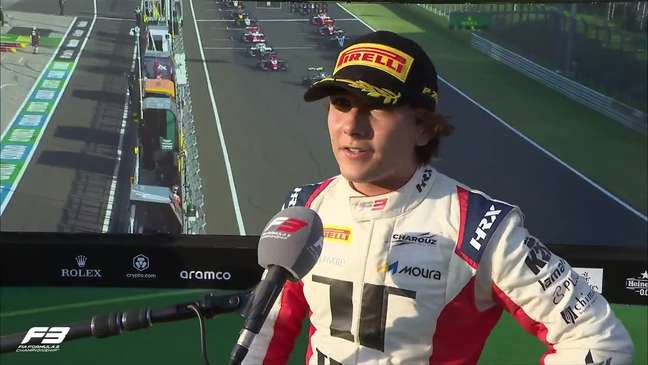 Enzo Fittipaldi conquistou seu primeiro pódio na F3 neste sábado na Hungria