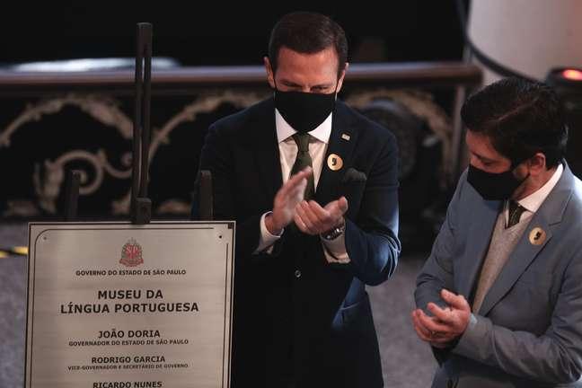 O Governador do Estado de São Paulo João Dória (PSDB) e o Prefeito de São Paulo Ricardo Nunes (MDB) durante evento de reinauguração do Museu da Língua Portuguesa