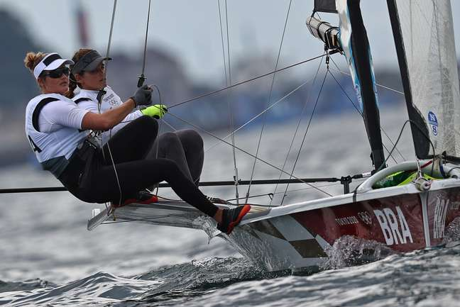 Martine Grael e Kahena Kunze na regata deste sábado Carlos Barria/Reuters