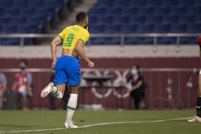 Matheus Cucnha comemora único gol do Brasil na vitória sobre o Egito neste sábado Lucas Figueiredo/CBF