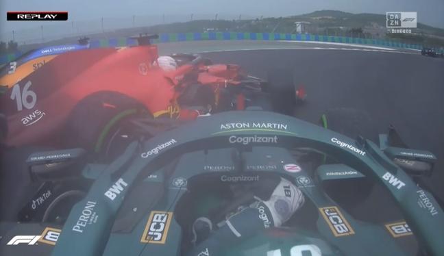 Stroll atinge Leclerc na largada