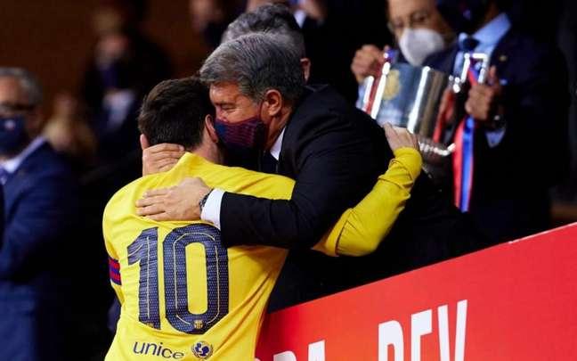 Joan Laporta segue confiante na renovação de Messi (Foto: German Parga / Barcelona)