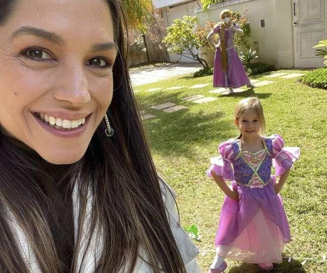 A atriz Thais Fersoza e a filha Melinda, de 5 anos, fruto do relacionamento com o cantor Michel Teló