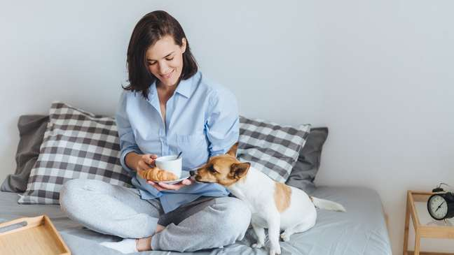Evite comer na cama e deixar que os animais de estimação subam nela