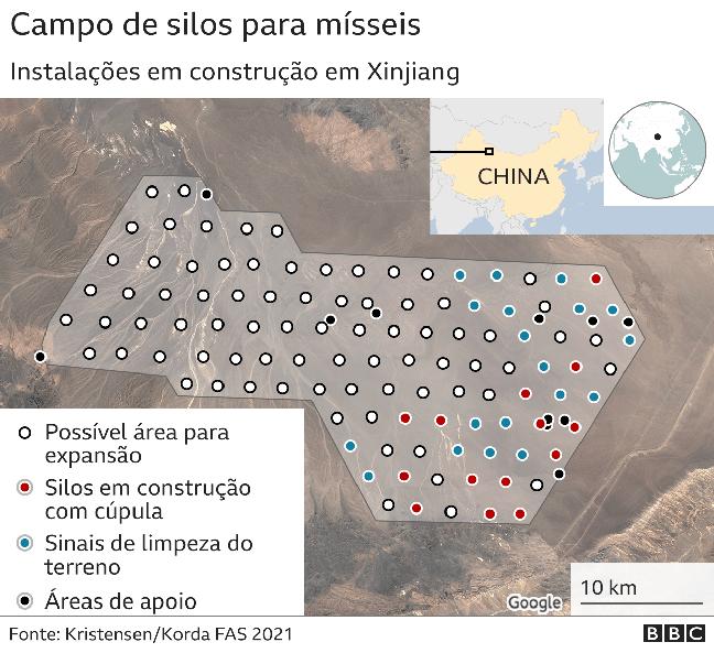 Arte mostra imagem de satélite com possível área de construção de silos