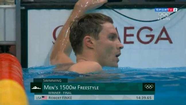 Robert Finke conquistou mais uma medalha de ouro nos Jogos Olímpicos de Tóquio (Foto: Reprodução/SporTV)