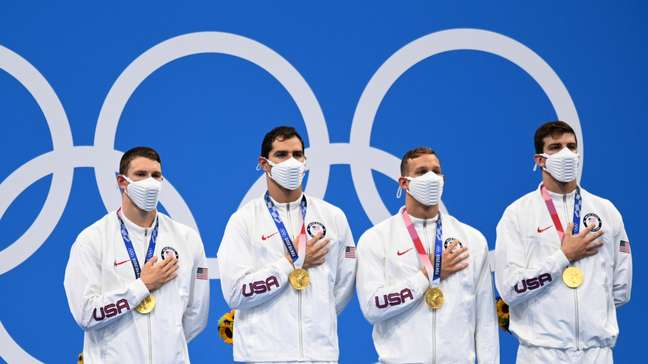 Ryan Murphy, Michael Andrew, Caeleb Dressel e Zach Apple venceram o revezamento 4x100m livre
