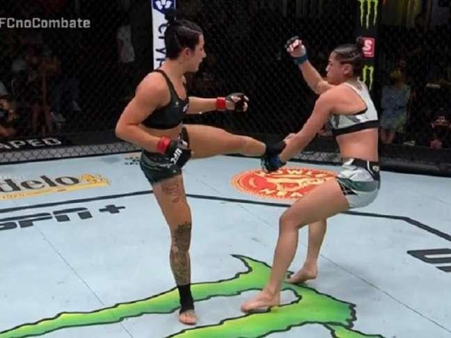 Cheyanne Buys nocauteou Glorinha de Paula ainda no primeiro round (Foto: Reprodução/UFC)