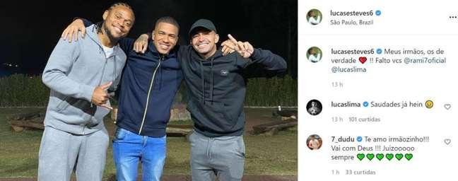 Dudu e Lucas Lima comentaram na foto de Esteves. (Foto: Reprodução/Instagram)