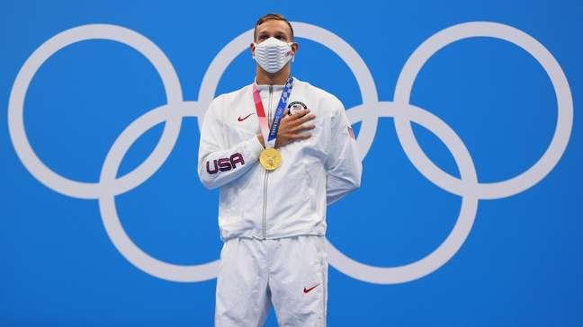 Caeleb Dressel conquistou a medalha de ouro nos 50m livre nos Jogos Olímpicos de Tóquio Marko Djurica/Reuters