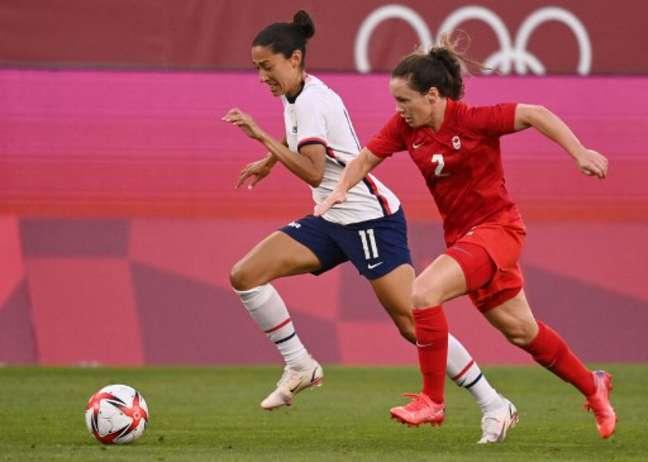Estados Unidos pressionou, mas Canadá conquistou grande vitória e busca ouro olímpico (KAZUHIRO NOGI / AFP)