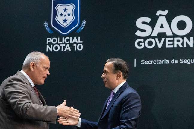 O governador João Doria e o Secretário da Segurança Pública, General João Camilo Pires de Campos