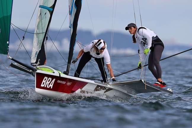 Martine Grael e Kahena Kunze não puderam navegar por falta de vento Carlos Barria/Reuters