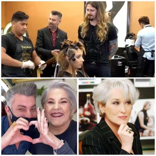 Acima, Nell Carmo dá orientação no 'Duelo de Salões' na TV; abaixo, com uma cliente e a inspiradora Miranda de 'O Diabo Veste Prada'