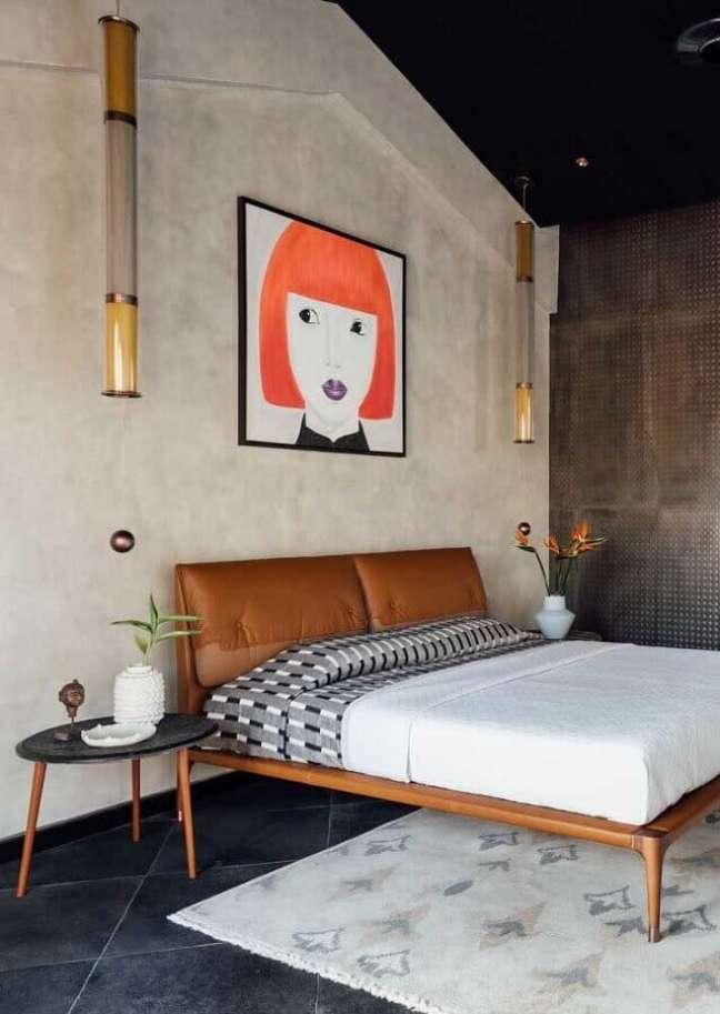 26. Como decorar um quarto estilo industrial com quadro grande para parede de cimento queimado – Foto: Pinterest