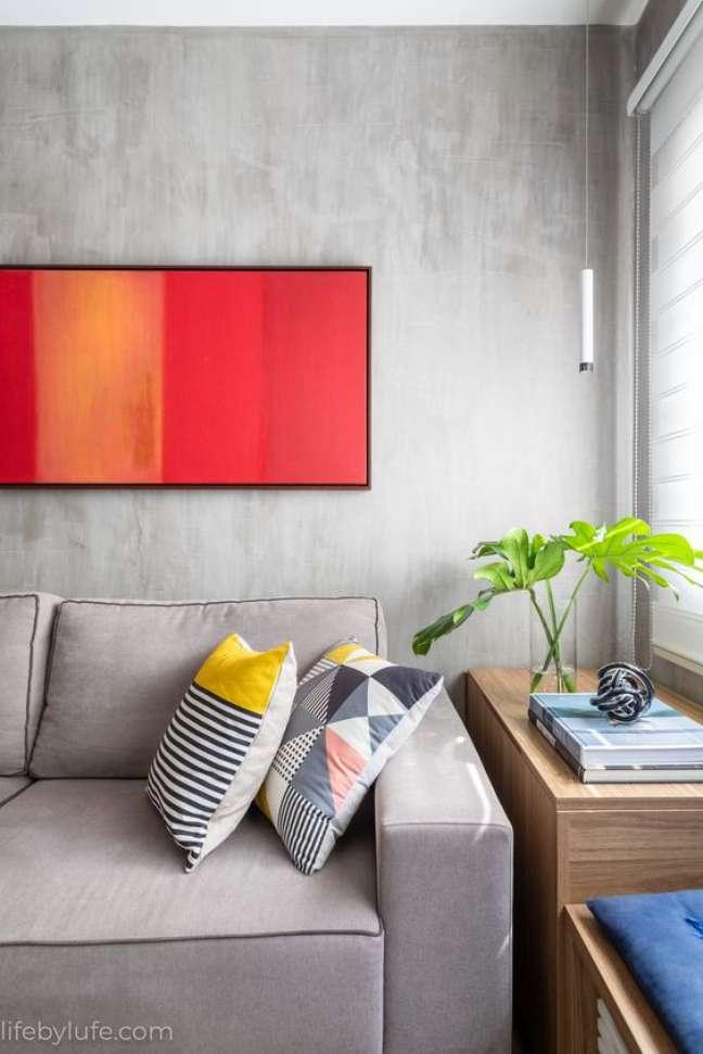 12. Cores de tinta para sala moderna com cinza em cimento queimado – Foto lifebylufe