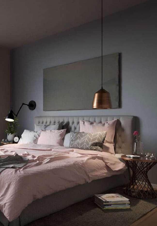 31. Como decorar um quarto feminino moderno cinza e rosa com luminárias diferentes – Foto: Architecture Art Designs