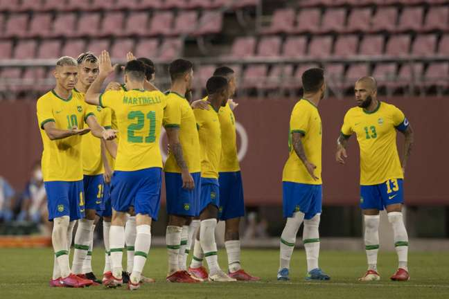 Jogadores da Seleção durante as cobranças de pênaltis entre Brasil e México nas Olimpíadas de Tóquio. (Foto: Divulgação/Lucas Figueiredo)