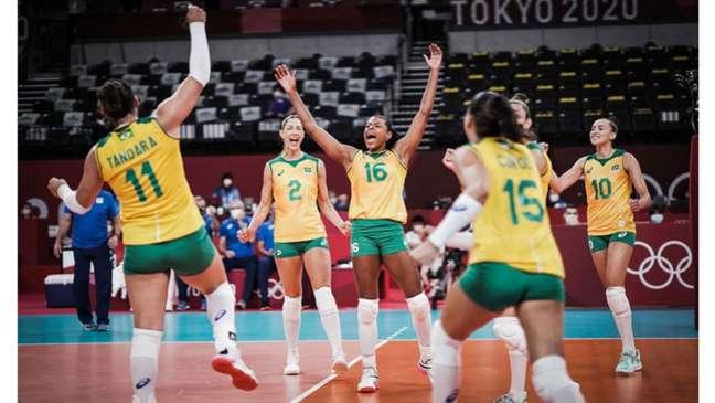 Meninas do vôlei estão nas quartas de final dos Jogos Olímpicos de Tóquio (Foto: volleyballworld)
