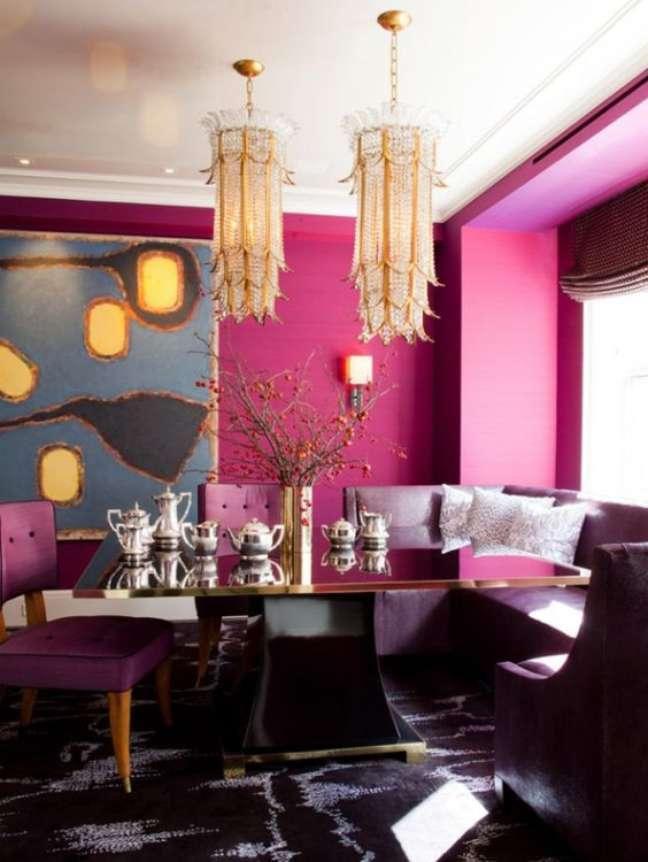 28. Cores para sala de jantar em rosa pink – Foto fashionismo