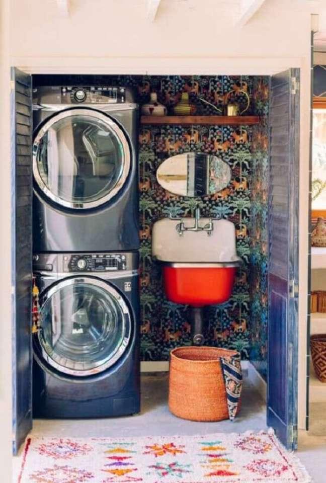 33. Lavanderia pequena com decoração indiana. Fonte: Pinterest